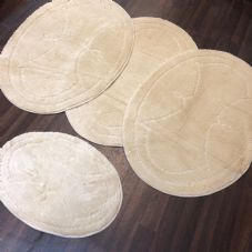 ROMANY WASHABLES GYPSY MATS 4PC SETS NON SLIP WING OVAL DESIGN CREAM IVORY NEW